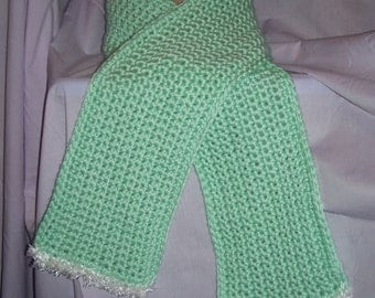 Pale Green Crochet Scarf - Free Shipping to US and Canada