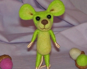 Needle Felted Lime Green Mouse FREE SHIPPING to US and Canada