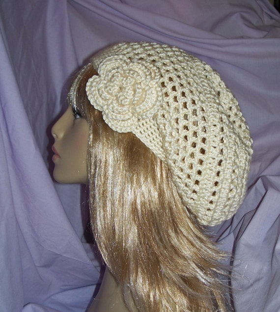 Creamy Off-White Crochet Slouchy / Beanie Hat with removable Flower - FREE SHIPPING to US and Canada