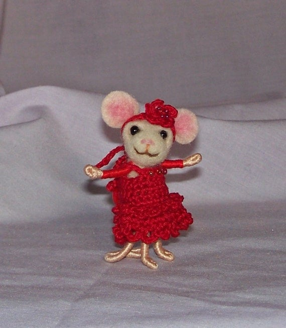 RESERVED for Leigh - Needle Felted Mini Mouse in Red Crochet Dress and Flower Hat