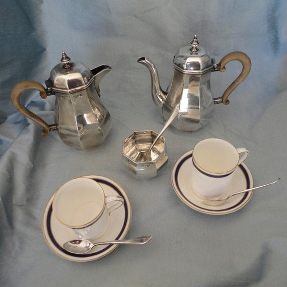 Reserved for Michelle - Sterling Silver Tea set with Royal Worcester Cups