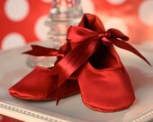 Girl Baby Shoes ---- Easter or Spring --- Red Ballet Shoes- 6-12 Months