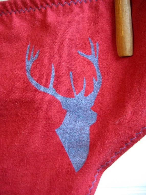 Deer Silhouette Red Boy-Cut Underwear -  Recycled Cotton - Women's 8 - Ready to Ship