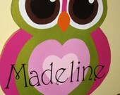 Hand Painted Personalized Wood Big Eyed Owl Custom Name Art Sign Any Color Wall Decor