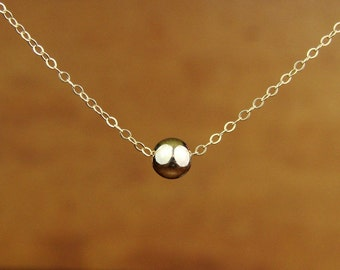 Large Single Bead Necklace in Gold Filled