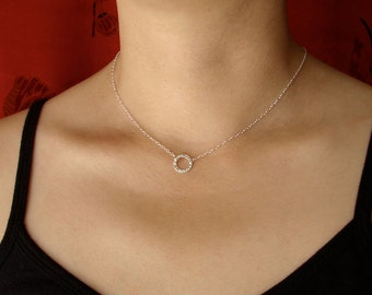 Silver Hammered Circle Necklace, 11