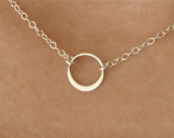 SMALL Single CIRCLE in a Sterling Silver, bridesmaid gift, Mother's Day Gifts,wedding, gift idea, silver circle necklace,simple, everyday