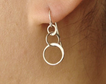 Three Linked Circles Drop Earrings in Sterling Silver Gold Circles Earrings dangle drop earrings entwined circles interlocking circles gifts