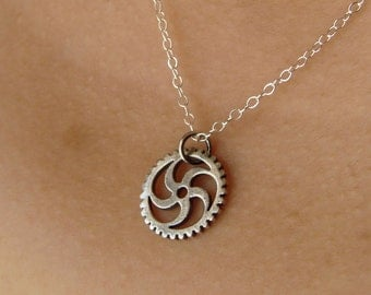 Oxidized Sterling Silver Gear Necklace