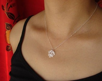 Lotus Necklace in Sterling Silver Mother's Day Gifts Lotus Necklace lotus flower lotus jewelry lotus charm lotus pendant holiday gift gifts
