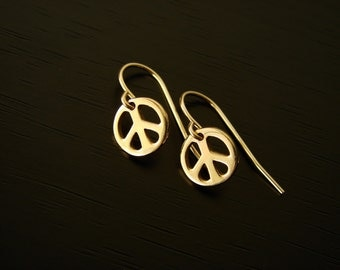 Peace Sign Earrings Peace Sign Charm Dangle & Drop Earrings bronze Peace Sign Jewelry Bronze Earrings Everyday Jewellery small