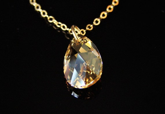 Rich Golden Shadow Crystal Necklace