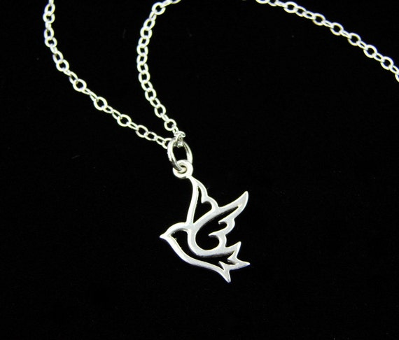 Cute Dove Necklace in Sterling Silver