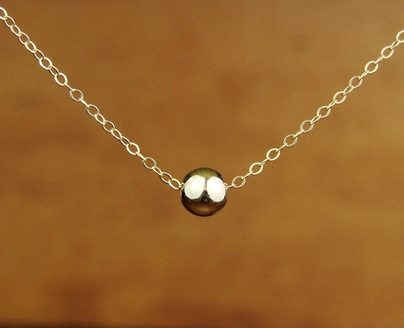 Gorgeous Large Single Bead Necklace in Gold Filled