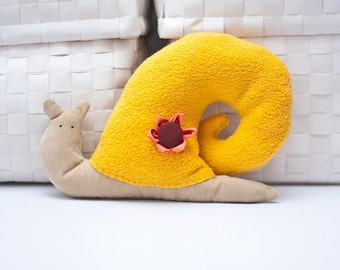 Yellow snail toy Stuffed snail animal Embellished fabric animal, kid gift or collectible, Size 7.8 inch/20 cm x 5.9 inch/15 cm