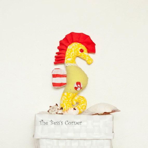 Patchwork yellow seahorse Cotton seahorse toy Fancy stuffed animal Striped, nautical plush, Yellow seahorse, Size 8.2 inch/ 21cm