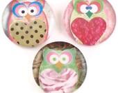 Magnets, Mod Pastel Owl, Set of Three