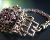 Vintage Filigree Bamboo and Swarovski Crystal Square Metal Bracelet