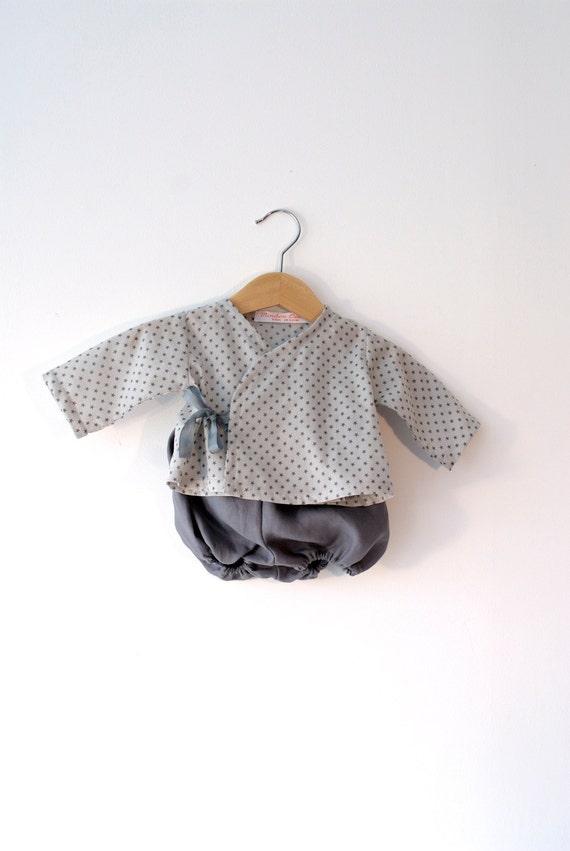 SALE 50 % - Ensemble 3 mois, tunique et bloomer coton et lin