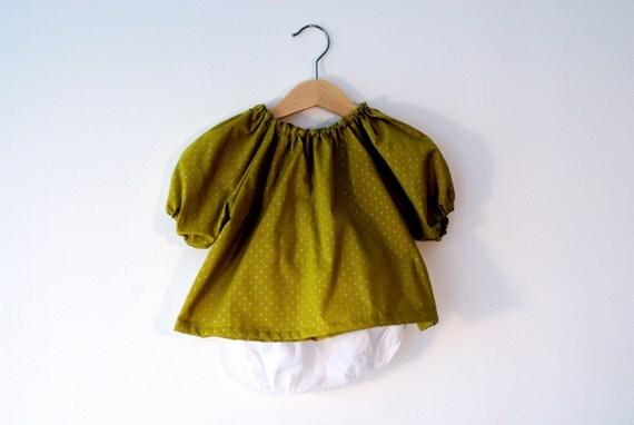 SALE 50% - Ensemble mixte 6 mois, tunique et bloomer coton et lin