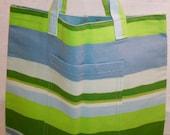 Tote Bag Green Blue White Striped Small 00367