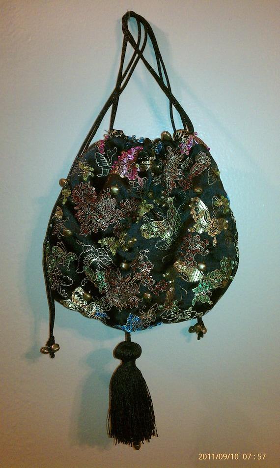 Gypsy Pouch Drawstring Purse Putsi Shaman Medicine Bag Butterfly Brocade Burgundy Satin Lining Bells Beads Tassel