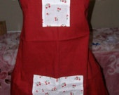 "Childerns Apron ""Red With White fabric with Cherrys Pockets"""