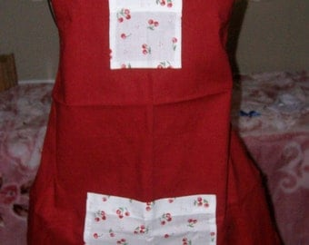 """Childerns Apron """"Red With White fabric with Cherrys Pockets"""""""