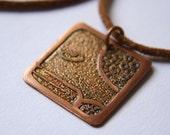 SERPENT Mayan Pendant ( Maya CHICCHAN / Spanish SERPIENTE ). Galactic Symbol or Gliph or Sign Maya. Etched copper