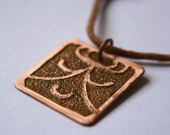 WIZARD Mayan Pendant ( Maya IX / Spanish MAGO ). Galactic Symbol or Gliph or Sign Maya. Etched copper.From doery