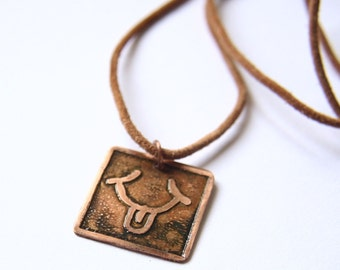 WIND Mayan Pendant ( Maya IK / Spanish VIENTO ). Galactic Symbol or Gliph or Sign Maya.Etched copper.