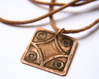 STAR Mayan Pendant ( Maya LAMAT / Spanish ESTRELLA ). Galactic Symbol or Gliph or Sign Maya. Etched copper.