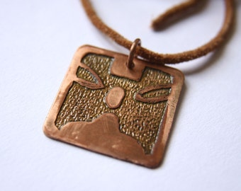 MONKEY Mayan Pendant ( Maya CHUEN / Spanish MONO ). Galactic Symbol or Gliph or Sign Maya.Etched copper.