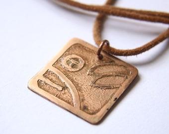 DOG Mayan Pendant ( Maya OC / Spanish PERRO ). Galactic Symbol or Gliph or Sign Maya. Etched copper.