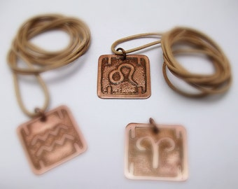 ZODIAC SIGNS Etched Copper PENDANT. Horoscope Astrology Handmade Metal
