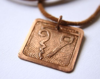 EARTH Mayan Pendant ( Maya CABAN / Spanish TIERRA ). Galactic Symbol or Gliph or Sign Maya. Etched copper