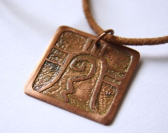 WARRIOR Mayan Pendant ( Maya CIB / Spanish GUERRERO ). Galactic Symbol or Gliph or Sign Maya. Etched copper.