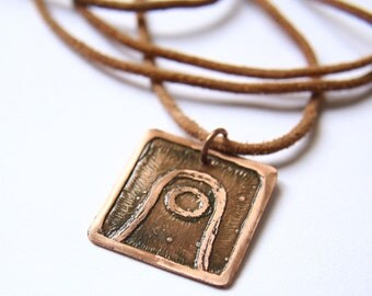 MOON Mayan Pendant ( Maya MULUC / Spanish LUNA ). Galactic Symbol or Gliph or Sign Maya. Etched copper.