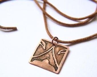 NIGHT Mayan Pendant ( Maya AKBAL / Spanish NOCHE ). Galactic Symbol or Gliph or Sign Maya.Etched copper