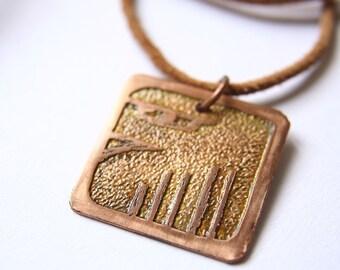 EAGLE Mayan Pendant ( Maya MEN / Spanish AGUILA ). Galactic Symbol or Gliph or Sign Maya.Etched copper.