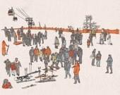 Skiing in Korea Print