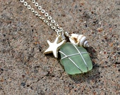 Aqua Sea Glass, Conch Shell and Silver Plated Starfish Charm Necklace by Just Beachy Jewelry