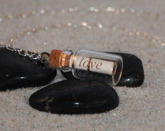 Personalized Message In A Bottle Short Silver Necklace by Just Beachy Jewelry