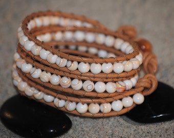 White Sea Shell Beaded Leather 3-Wrap Bracelet by Just Beachy Jewelry