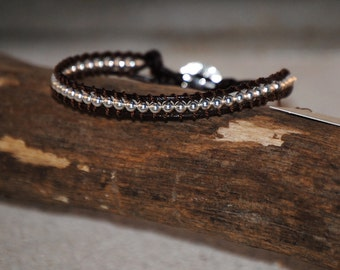 Silver Plated Round Beaded Leather Bracelet by Just Beachy Jewelry