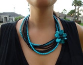 Aqua and Black Necklace Beaded Flower Necklace Shell Necklace Teal Blue Great for Summer