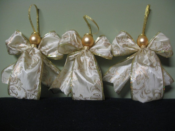 Handmade angel christmas ornament ribbon angels by