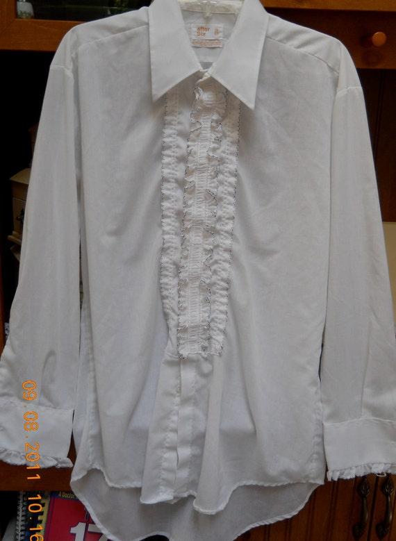 Men 39 s vintage after six white blue black ruffled tuxedo for 17 33 shirt size