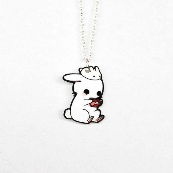 Cute Kawaii Necklace - Tea Time with Bunnies