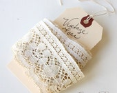 SALE - VINTAGE Lace . 5 YARDS. Aged  to Perfection. Off White Ecru. 2 inches Wide